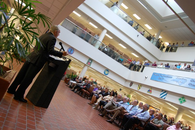Troy E. (Gil) Gilleland, Deputy G1,  U.S. Army Forces Command, addresses nearly 200 members of the FORSCOM civilian work force during a Sept. 28, 2009 Base Realignment and Closure Town Hall meeting.  FORSCOM will move from Ft. McPherson, Ga. to Ft. Bragg, N.C. not later than Sept. 15, 2011.  (U.S. Army Photo by Jim Hinnant)""
