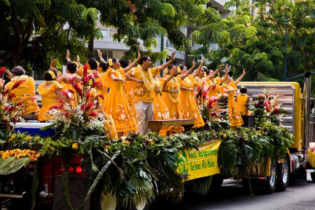HONOLULU - Hula dancers perform atop a float during last year's Aloha Festivals Floral Parade in Waikiki. This year's parade is scheduled Saturday, Sept. 26, beginning at 9 a.m., along Kalakaua Avenue.