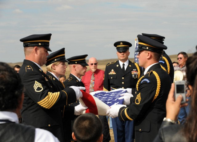 Korean War veteran's flag folded