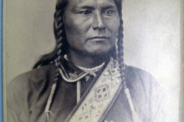 "An Honorable Leader. Chief Joseph. A leader among the Nez Perce, he led his band living in the Wallowa Valley of eastern Oregon on a 1500 miles exodus in an attempt to flee from pursuing Army forces. He fell short of his goal when most were captured close to the Canadian /American border in 1877. Surrendering after the battle at Bear Paw Mountain , he said "" From where the sun now stands, I will fight no more forever."" (Edward S. Godfrey Collection.)"