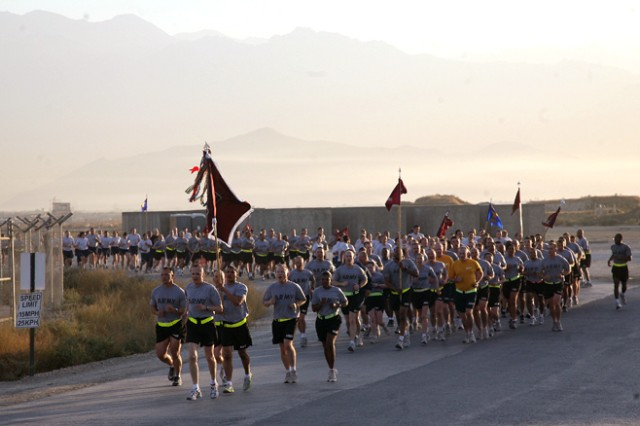 Task Force 30th MEDCOM Units, led by Commander COL Dennis D. Doyle, during the TF 30th MEDCOM 76th Anniversary Run.