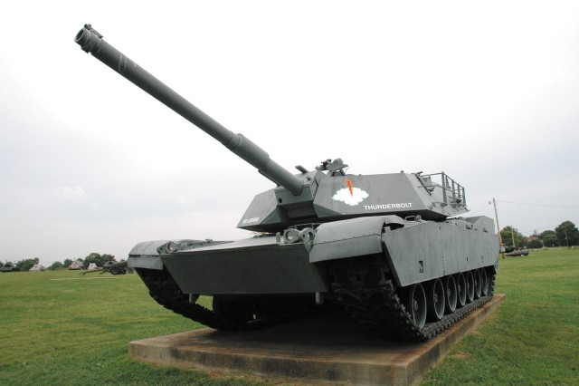 This M-1 main battle tank was one of the first models off the production line in 1980 and was used for various testing at Aberdeen Proving Ground.