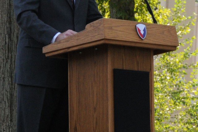 """""""You have my commitment that I will continue to implement the vision set forth in the Gansler Commission Report,"""" said Jeff Parsons, Army contracting Command executive director at the command's Full Operational Capability ceremony on the Army Materiel Command Parade Field on Fort Belvoir, Va."""