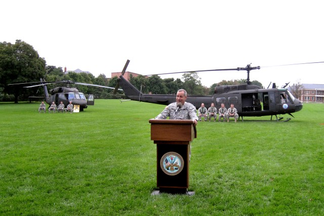 Brig. Gen. Alberto Jimenez, assistant adjutant general for the Maryland Army National Guard and the Army Guard's senior aviator, speaks to those in the audience during the retirement ceremony for the UH-1 Iroquois helicopter held at Fort Myer, Va., Friday, Oct. 02, 2009. First fielded in 1959 the UH-1, better known as the Huey, is being phased out and replaced with the UH-60 Blackhawk and the UH-72A Lakota after more than 50 years of service life.