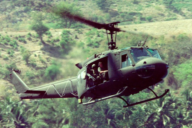 The UH-1 Iroquois helicopter was officially retired in a ceremony held Oct. 2 by the Army National Guard, ending a service life of more than 50 years to the Army and close to 40 years in the Army Guard. The helicopter, known to most simply as the Huey, was first manufactured in 1956 and fielded to the Army by 1959. Its distinctive nickname came from the pronunciation of its first Army designation of HU-1- for helicopter, utility.