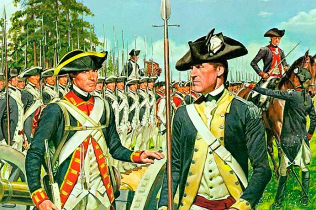 The American Soldier, 1781:  The troops in this painting wear the uniforms prescribed in the regulations of 1779 and supplied at the time of the Yorktown campaign - blue coats with distinctive facings for the infantry regiments from four groups of states: New England; New York and New Jersey; Pennsylvania, Delaware, Maryland, and Virginia; and the Carolinas and Georgia. All of the infantry coats were lined with white and had white buttons. All troops wore white overalls and waistcoats. A Lieutenant in the right foreground is recognizable by the epaulette on his left shoulder. (U.S. Army Center of Military History).