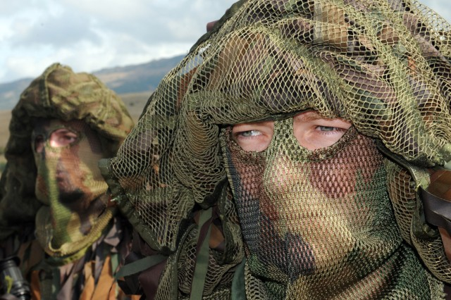 Special operations Soldiers from Macedonia wear 'ghillie' suits as part of the Jackal Stone 2009 Distinguished Visitors Day exercise, held in Udbina, Croatia.