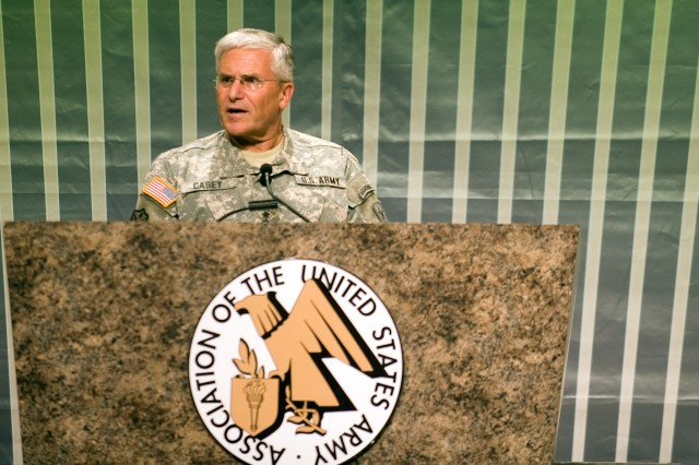 Chief of Staff of the Army, Gen. George W. Casey Jr., makes the keynote address at the Eisenhower luncheon as part of the 2009 Association of the U.S. Army Annual Meeting in Washington, D.C., on Oct. 6, 2009.