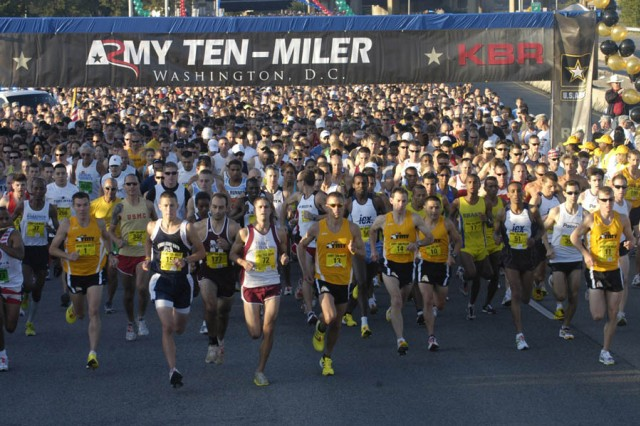 The first wave starts the Army Ten-Miler, Oct. 4. A record 30,000 runners registered for the race and 21,256 runners and wheelchair athletes completed the course.