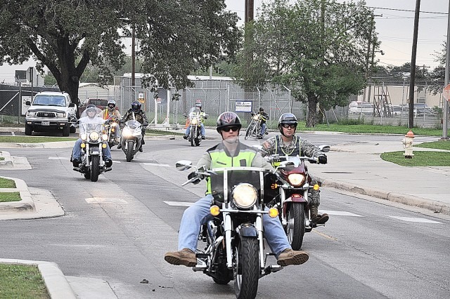 Soldiers assigned to the 264th Medical Battalion, Fort Sam Houston begin their motorcycle ride to Fredericksburg, Texas to visit the National Museum of the Pacific War. The ride is part of their quarterly Motorcycle Safety Class. Experienced riders are matched with less experienced riders.