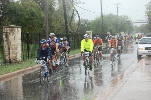 More than 2,200 cyclists traveled through Fort Sam Houston on Saturday along Wilson Road. Fort Sam Houston and San Antonio police officers established traffic control points and escorted riders along the route.