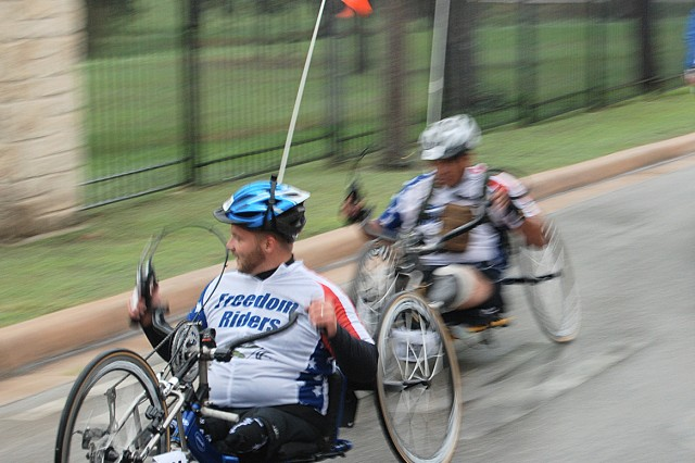 "Wounded warriors identified by their ""Freedom Riders"" uniforms participated in the bicycle tour from San Antonio to New Braunfels, Texas."