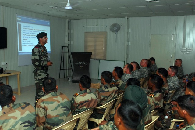 CAMP BUNDELA, India- (Oct. 13, 2009) - An Indian army officer teaches a class on United Nations Peacekeeping Operations to a group of Indian and U.S. Army Soldiers Oct. 13. The class is part of a Subject Matter Expert Exchange for Yudh Abhyas 09. YA09 is an annual bilateral exercise between the Indian and U.S. Army.