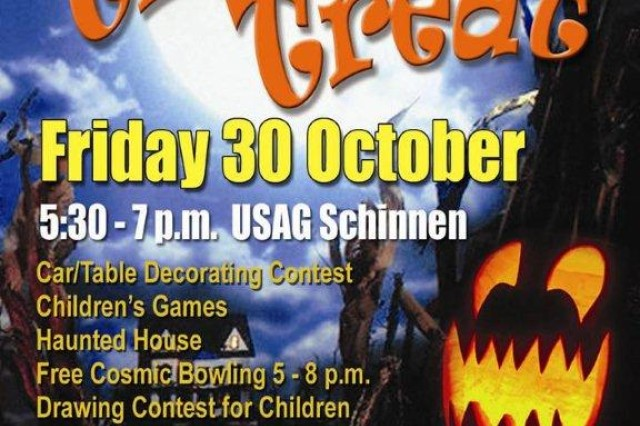 Enjoy an evening of family fun at USAG Schinnen's annual Trunk or Treat Oct. 30, 5:30 to 7 p.m. FREE sbus service from the SSO Parking lot begins at 5 p.m. (See map on this webpage).