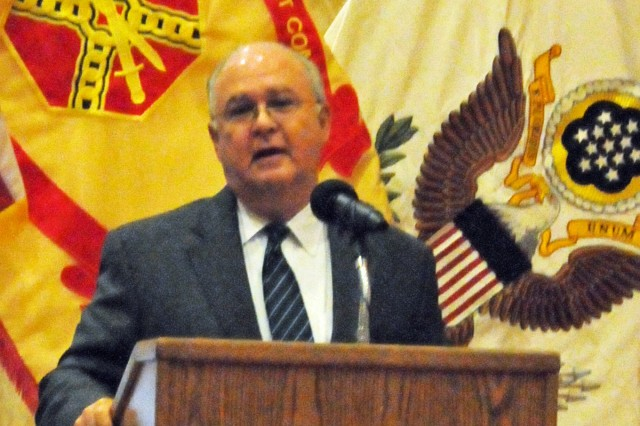 Under Secretary of the Army Dr. Joseph Westphal speaks at the Fort Belvoir, Va., Hispanic-American Heritage Month observance Thursday. Westphal, who took office last month, moved to the U.S. from Chile with his family when he was 5 years old.