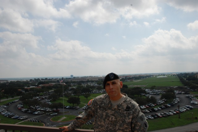 Warrant Officer Abelardo Villarreal, Jr., with Army South Information Directorate, participates in Operation Tribute to Freedom.  OTF shares the stories of Soldiers who have or are currently serving in support of Operation Iraqi Freedom and Operation Enduring Freedom. The program connects these Soldiers with their local communities through speaking and appreciation events, as well as media outreach.
