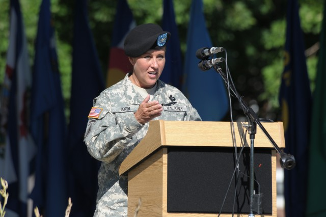 New 3rd ESC Commander Col. (Promotable) Robin Akin addresses guests at the 3rd ESC Change of Command conducted 21 August.""