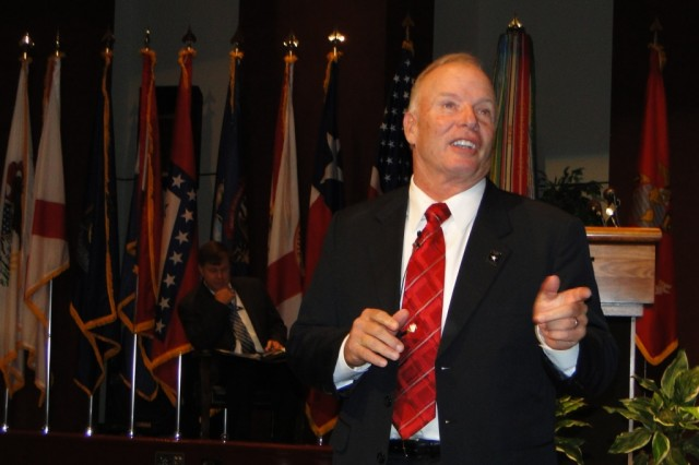 Jack Tilley, the former 12th sergeant major of the Army, speaks to retirees at the 36th annual Military Retiree Appreciation Day about the life changes that have motivated him to continue to serve his nation and its military.