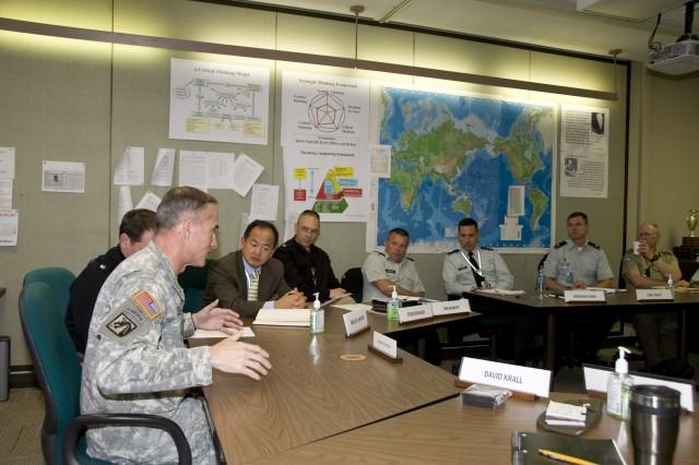 Lt. Gen. David Huntoon, director of the Army Staff, speaks with members of Seminar 8. Photo by Megan Clugh.