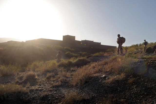Paratroopers with Company C, 3rd Battalion, 509th Infantry Regiment, conduct a foot patrol Sept. 26 in Marghah in the Paktika Province of eastern Afghanistan.
