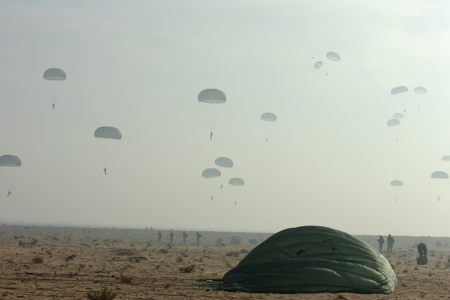 Egyptian, Kuwaiti, German, Pakistani and U.S. forces participated in a coalition friendship jump during Operation Bright Star 2009. Bright Star is a multinational exercise that is designed to improve readiness, interoperability and strengthen military and professional relationships among other nations.