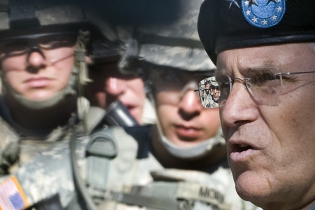 The Chief of Staff of the Army, Gen. George W. Casey Jr., talks with Soldiers that are participating in urban combat training at Ft. Benning, Ga., Oct. 20, 2009.