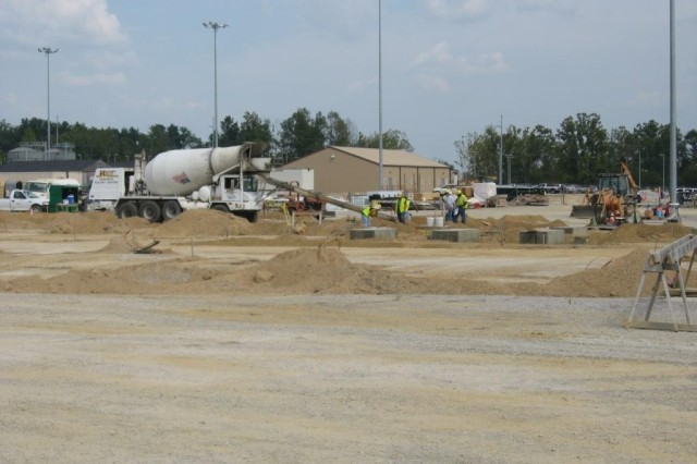 Concrete is placed for the Utility Building foundation.