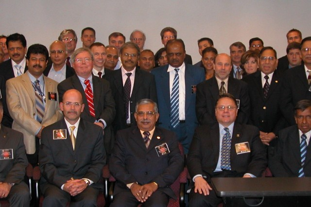 Scientists, engineers and professors from the United States and India gathered to solve critical power and energy challenges at the first U.S.-Indo Bilateral Power and Energy Workshop. Pictured in the front row (left to right): Dr. John Pellegrino, Director, Sensors Electronics Devices, Army Research Laboratory; Mr. Keith Webster, Deputy Assistant Secretary of the Army; Dr. Narayanadas, Director, Naval Materials Laboratory, India; Dr. Gerry Melendez, Director CERDEC C2D; Mr. Rajan T. Joseph, Director General, Centre for Development of Advanced Computing, India; Dr. Ashok Patil, CERDEC C2D