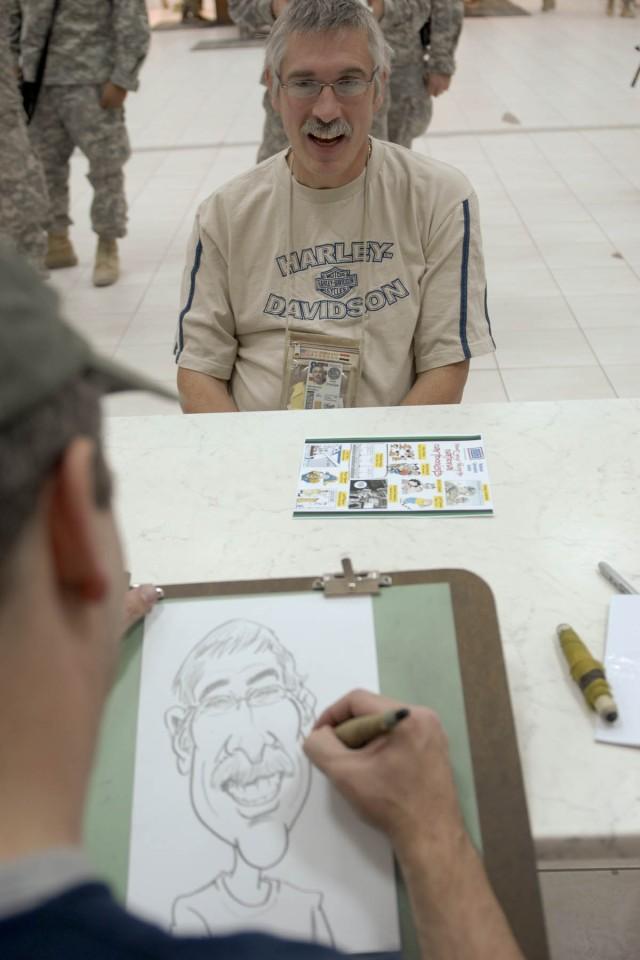 Cartoonist sketches caricature