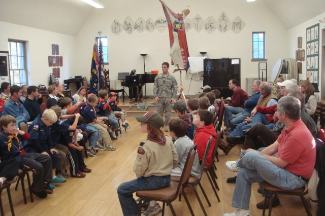 Capt. Brian E. Kinsella, a 3d Sustainment Command (Expeditionary) Soldier, and Freehold, N.J., native, speaks to Anchorage, Ky., Cub Scouts and Boy Scouts Oct. 18 about his time spent in the military and overseas. Kinsella spent 30 minutes speaking about who he is, what he did during his deployment to Iraq, why he serves as a Soldier and his personal experiences. (Courtesy photo by Gerald Oliver)""