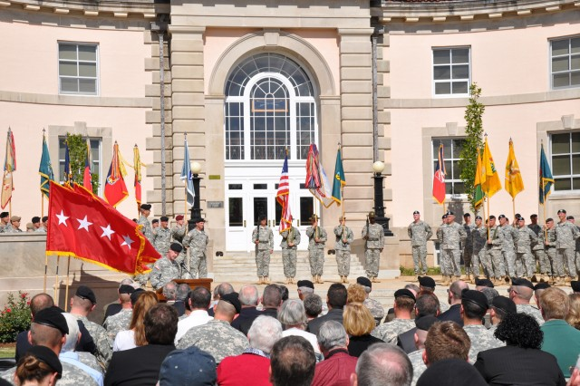 Maj. Gen. James Milano, Armor Center commanding general, addresses the audience during the activation ceremony of the Maneuver Center of Excellence, Oct. 22 at Fort Benning's Ridgway Hall. During the ceremony, Gen. Martin Dempsey, TRADOC commanding general, and Maj. Gen. Michael Ferriter, MCOE commanding general, uncased and unfurled the MCOE flag.
