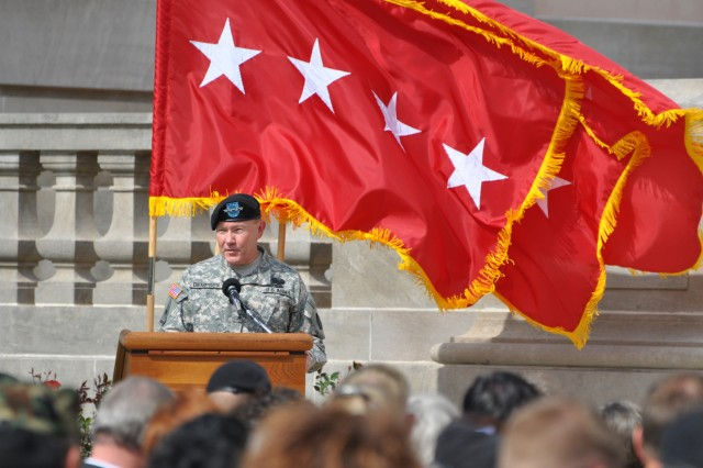 Gen. Martin Dempsey, TRADOC commanding general, addresses the crowd during the activation ceremony for the Maneuver Center of Excellence at Fort Benning, Ga., Oct. 22.