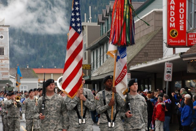 Soldiers from Fort Richardson, Alaska's 95th Chemical Company march in the Alaska Day Parade Oct. 18 in Sitka, Alaska. The annual event commemorates territory's 1867 transfer from Russia to the United States.