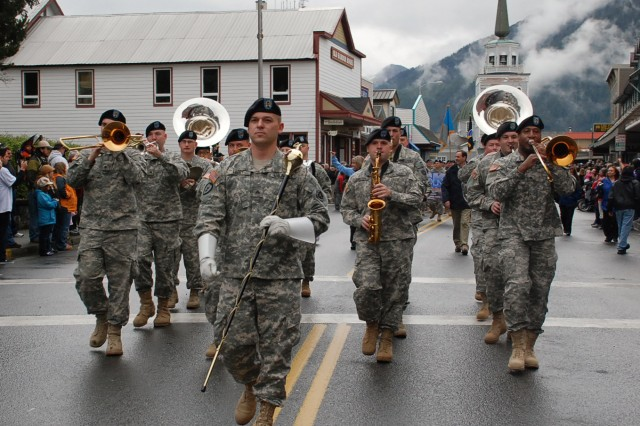 Members of the 9th Army Band march in the Alaska Day Parade Oct. 18 in Sitka, Alaska. 