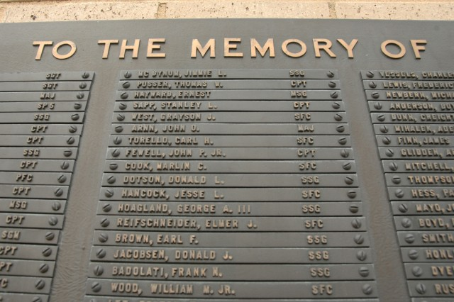 First dedicated in 1969, the USASOC Memorial Wall at Fort Bragg, N.C., was a tribute to the 550 Special Forces Soldiers who died in Vietnam. Hence, it was the first Vietnam War memorial erected in the U.S. It was later updated to include the names of all Army SOF Soldiers killed or missing in action from 1983 to present.