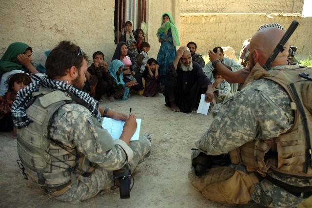 Special Forces Soldiers meet with Afghan villagers at Farah, Afghanistan, May 27, 2007.