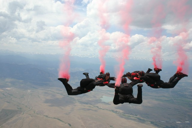 The U.S. Army Special Operations Command Parachute Demonstration Team-the Black Daggers-is composed entirely of volunteers from throughout the Army special operations community. They have diverse backgrounds and various military specialties.