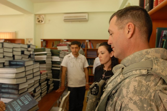 While visiting the Kirkuk College of Medicine in Kirkuk, Oct. 15, Lt. Col. Hugh McNeely, the deputy commanding officer of 2nd Brigade Combat Team, 1st Cavalry Division, had the opportunity to stop by the school's library. This visit provided McNeely with the opportunity to see how the school ran and what it was in need of.