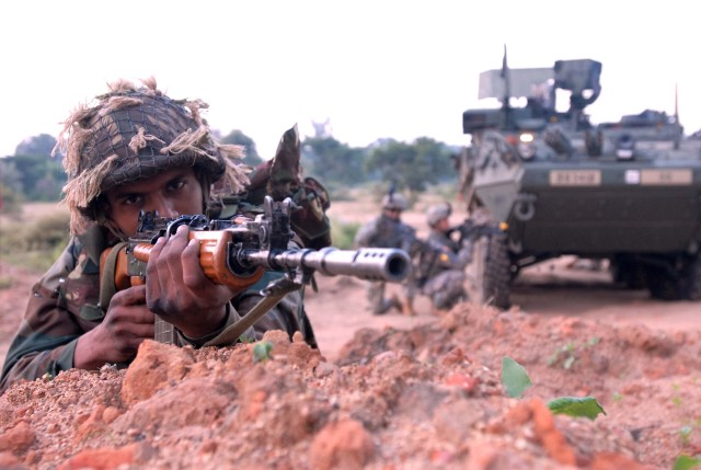 CAMP BABINA, India (October 26, 2009) - Despite a diversity of equipment and missions, Indian and U.S. Army Soldiers found common ground while training together during Exercise Yud