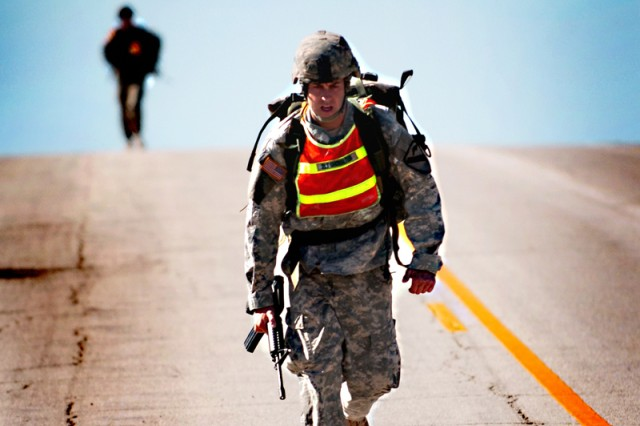 2nd Lt. Sterling Showalter, tries to finish strong during the 12-mile road march portion of the Spur Ride held by 1st Squadron, 9th Cavalry Regiment, 4th BCT, 1st Cav. Div., Oct. 22 on Fort Hood.