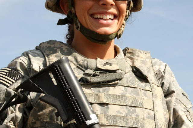 Sgt. Sarah Haskins, a signal analyst with the 1st Space Brigade, joined the Army in 2004 and attended Basic Combat Training at Fort Jackson, S.C.