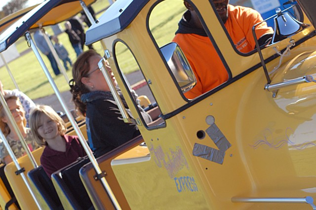 Jessie Green from Fun Solutions operated the trackless train for the kids during the annual Fort Hood Oktoberfest located at Hood Stadium, Oct. 23. The trackless train held 18 people. (photo by Staff Sergeant Kyle J. Richardson, 11th Public Affairs Detachment)