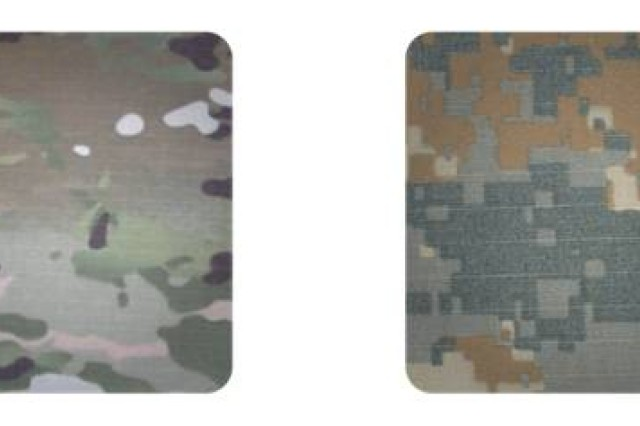 The two camouflage patterns being tested by battalions in Afghanistan.  On the left, the MultiCam®.  On the right, UCP-Delta.