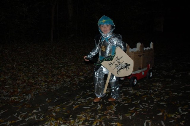 A medieval knight forges his way around USAG Schinnen's wooded path during the garrison's Trunk or Treat 2009 held Oct. 30.