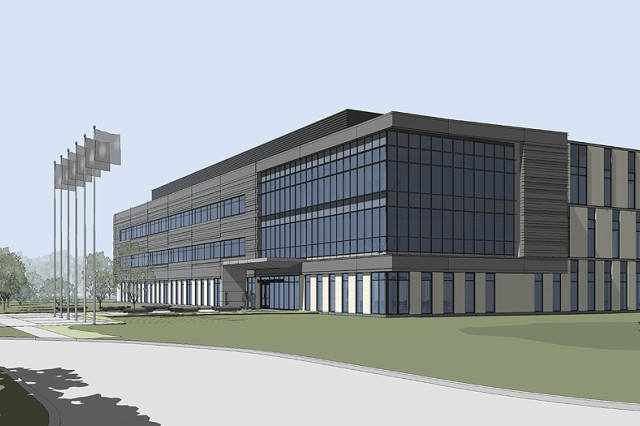 "Architect rendering of Joint Program Executive Office Aca,!"" Chemical Biological Defense at Aberdeen Proving Ground"