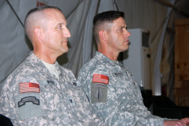 Col. Robert Whalen, Jr., (left) commander of the 201st Battlefield Surveillance Brigade, Fort Lewis, Wash., sits next to Col. Robert Walters, Jr., commander of the 504th Battlefield Surveillance Brigade, Fort Hood, Texas, during a transfer of authority ceremony at Contingency Operating Base Adder Oct. 28. The 201st BfSB will assume command of intelligence, surveillance and reconnaissance missions in Iraq.
