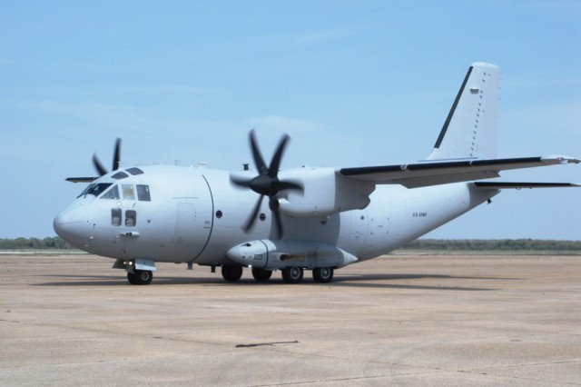 A C-27J Spartan taxis on the ramp at Redstone Arsenal, Ala., during flight testing in early 2009. The Air Force plans to add 38 C-27Js to its inventory, which will be operated by the Air National Guard.