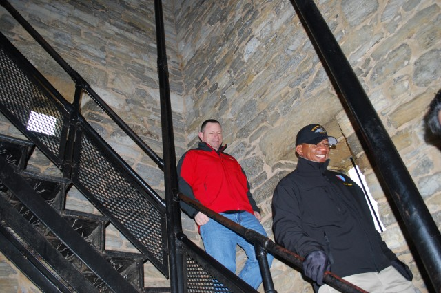 Command Sgt. Maj. Tony Baker and Col. Joseph Bass exit the Tower at Bloody Lane, where Brigadier General Thomas Francis Meagher's Irish Brigade Monument is located.