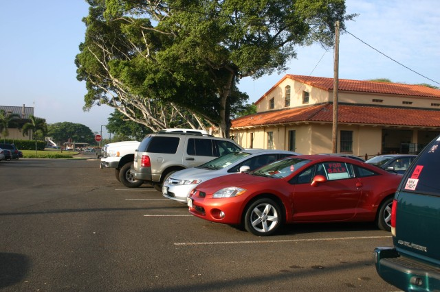 SCHOFIELD BARRACKS, Hawaii - Cars, trucks, jeeps and motorcycles sit in the Used Car Resale Lot located in the parking lot behind the Schofield Barracks Post Office.