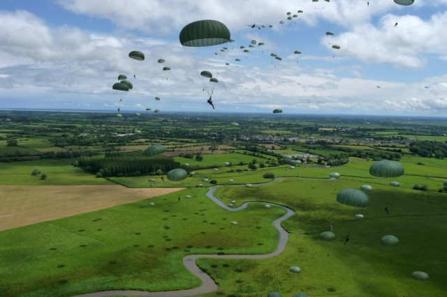 Paratroopers make their descent onto La FiAffA,A..re Drop Zone in France's Normandy region, June 7, 2009. More than 350 U.S., French, German and British airborne troops completed the jump in tribute to the 65th anniversary of D-Day ""